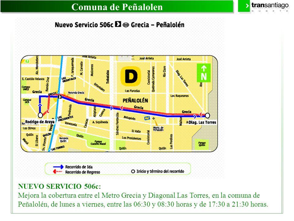 Comuna de Peñalolen NUEVO SERVICIO 506c: Mejora la cobertura entre el Metro Grecia y Diagonal Las Torres, en la comuna de Peñalolén, de lunes a vierne
