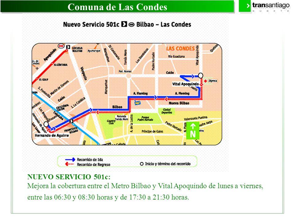 Comuna de Las Condes NUEVO SERVICIO 501c: Mejora la cobertura entre el Metro Bilbao y Vital Apoquindo de lunes a viernes, entre las 06:30 y 08:30 hora