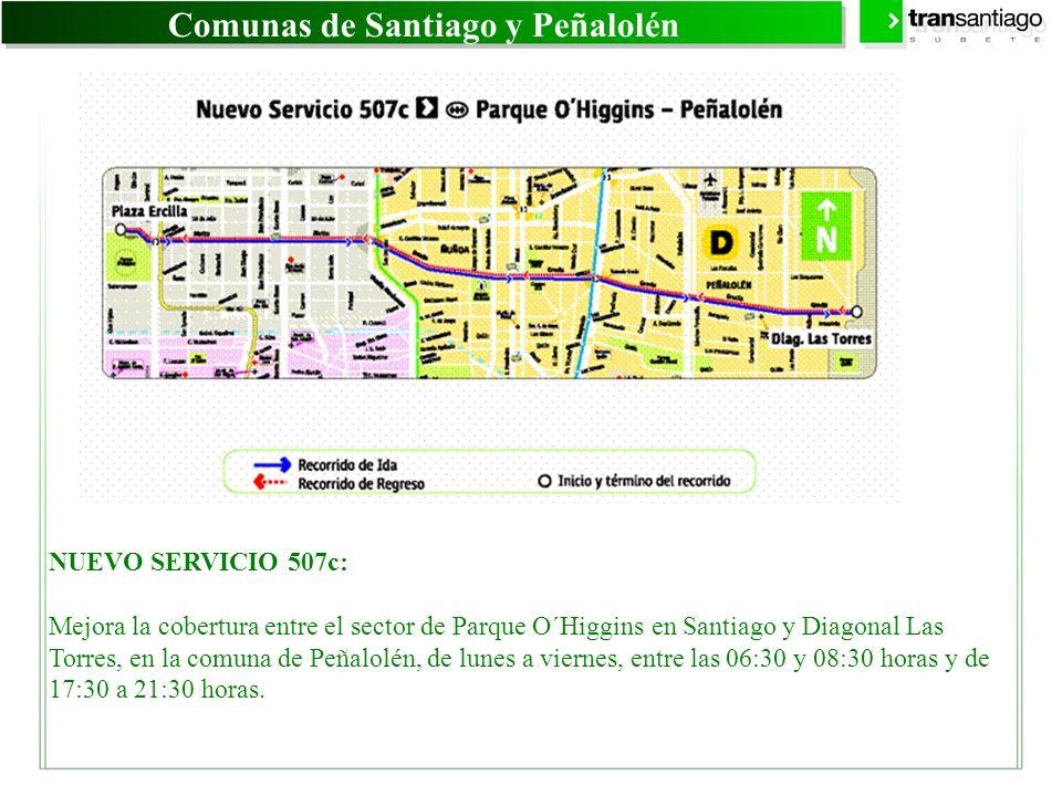 Comunas de Santiago y Peñalolén NUEVO SERVICIO 507c: Mejora la cobertura entre el sector de Parque O´Higgins en Santiago y Diagonal Las Torres, en la