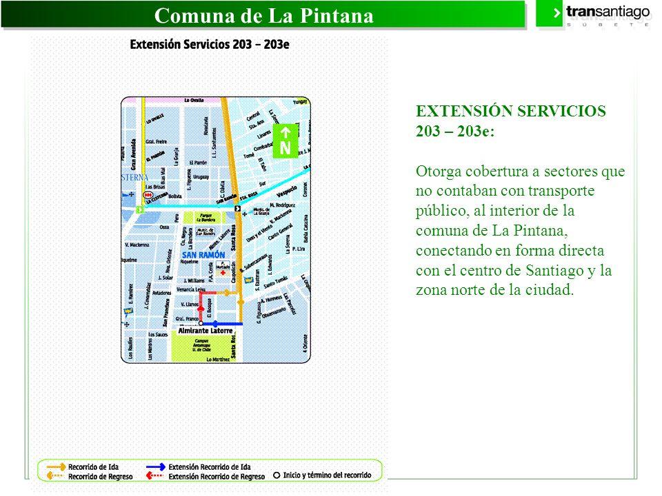 Comuna de La Pintana EXTENSIÓN SERVICIOS 203 – 203e: Otorga cobertura a sectores que no contaban con transporte público, al interior de la comuna de L