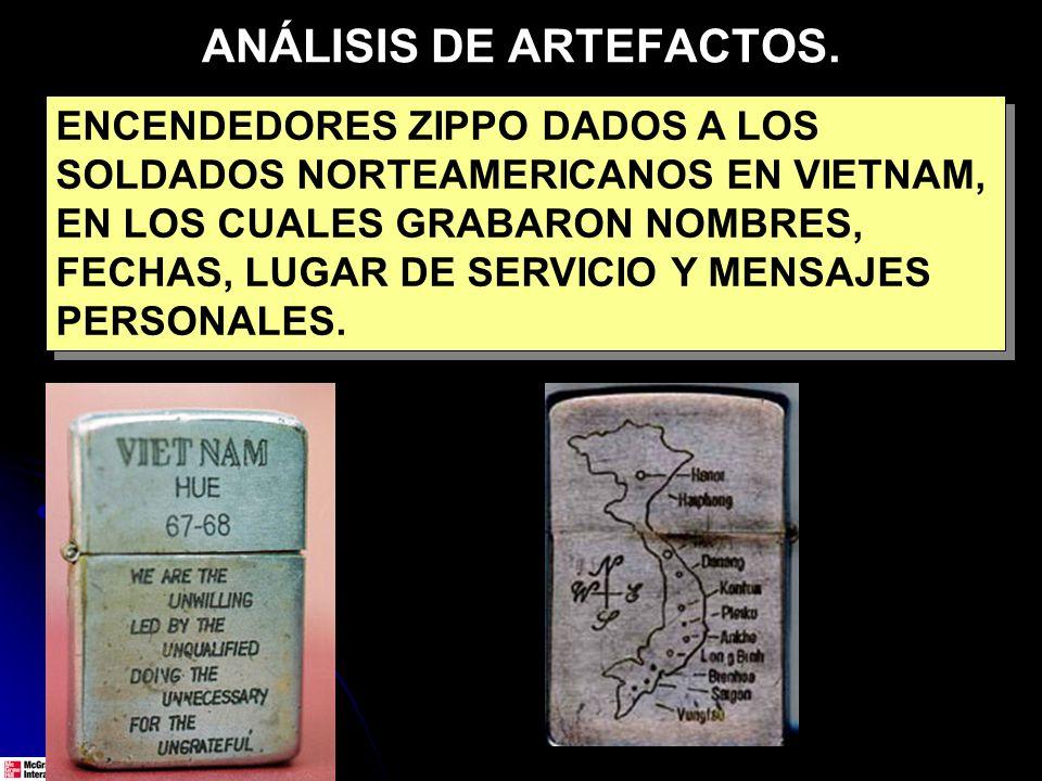 ANÁLISIS DE ARTEFACTOS. ENCENDEDORES ZIPPO DADOS A LOS SOLDADOS NORTEAMERICANOS EN VIETNAM, EN LOS CUALES GRABARON NOMBRES, FECHAS, LUGAR DE SERVICIO
