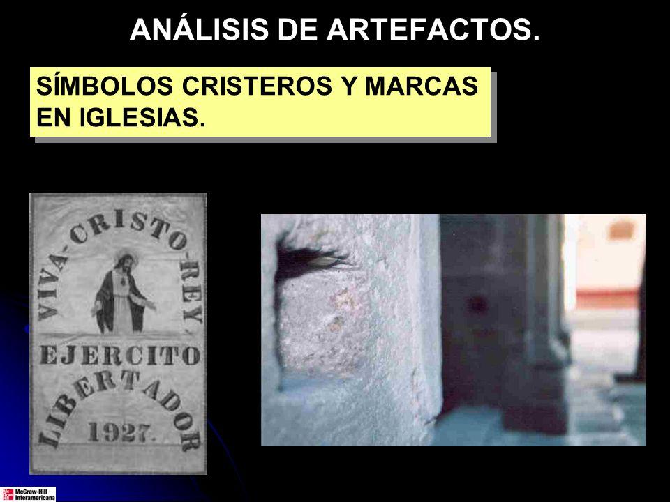 ANÁLISIS DE ARTEFACTOS. SÍMBOLOS CRISTEROS Y MARCAS EN IGLESIAS.