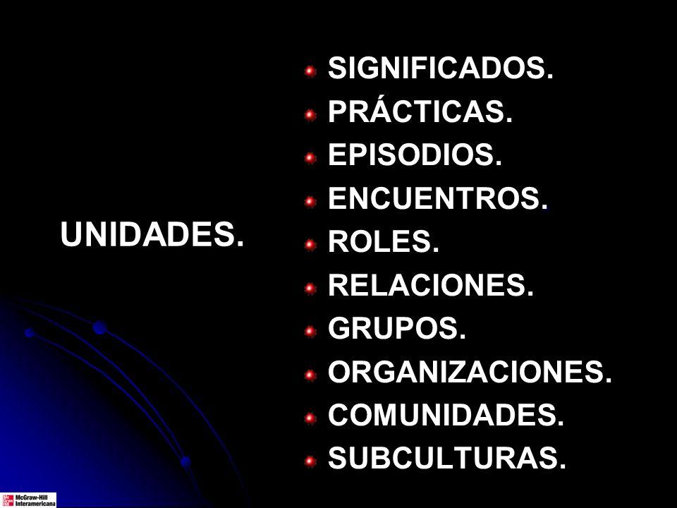 UNIDADES. SIGNIFICADOS. PRÁCTICAS. EPISODIOS.. ENCUENTROS. ROLES. RELACIONES. GRUPOS. ORGANIZACIONES. COMUNIDADES. SUBCULTURAS.