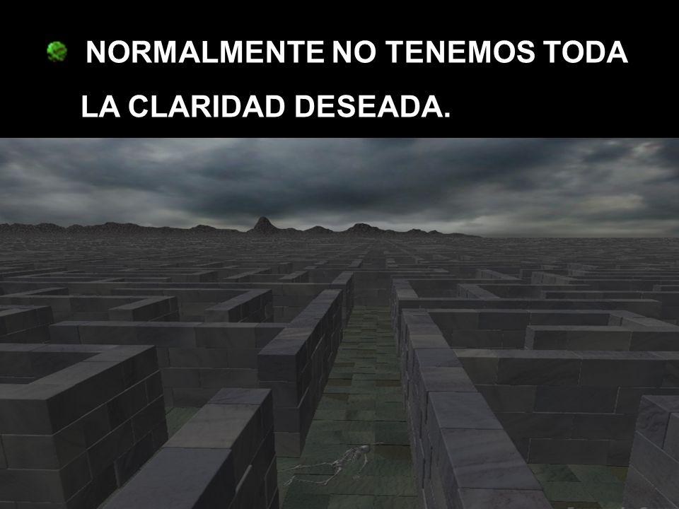 NORMALMENTE NO TENEMOS TODA LA CLARIDAD DESEADA.