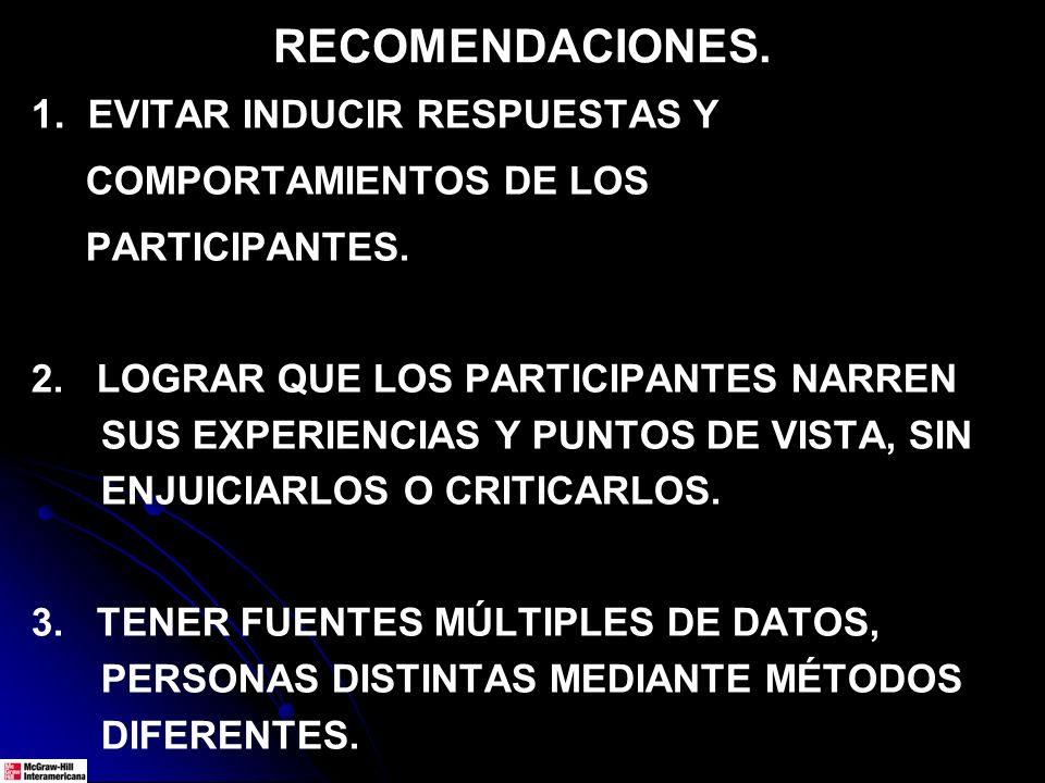 RECOMENDACIONES. 1. EVITAR INDUCIR RESPUESTAS Y COMPORTAMIENTOS DE LOS PARTICIPANTES. 2. LOGRAR QUE LOS PARTICIPANTES NARREN SUS EXPERIENCIAS Y PUNTOS