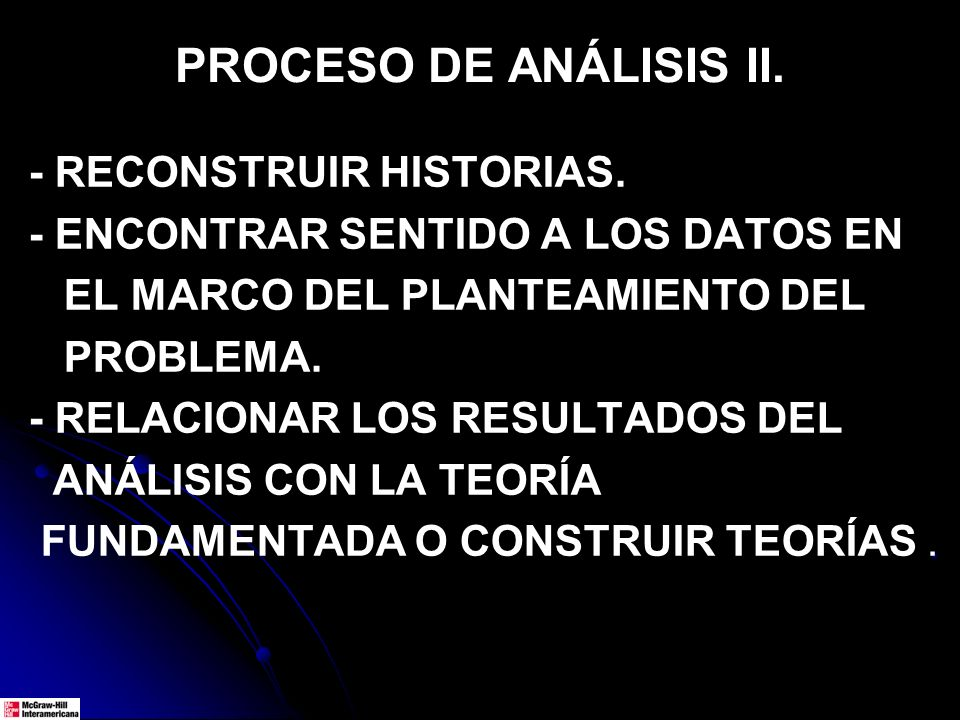 PROCESO DE ANÁLISIS II. - RECONSTRUIR HISTORIAS. - ENCONTRAR SENTIDO A LOS DATOS EN EL MARCO DEL PLANTEAMIENTO DEL PROBLEMA. - RELACIONAR LOS RESULTAD