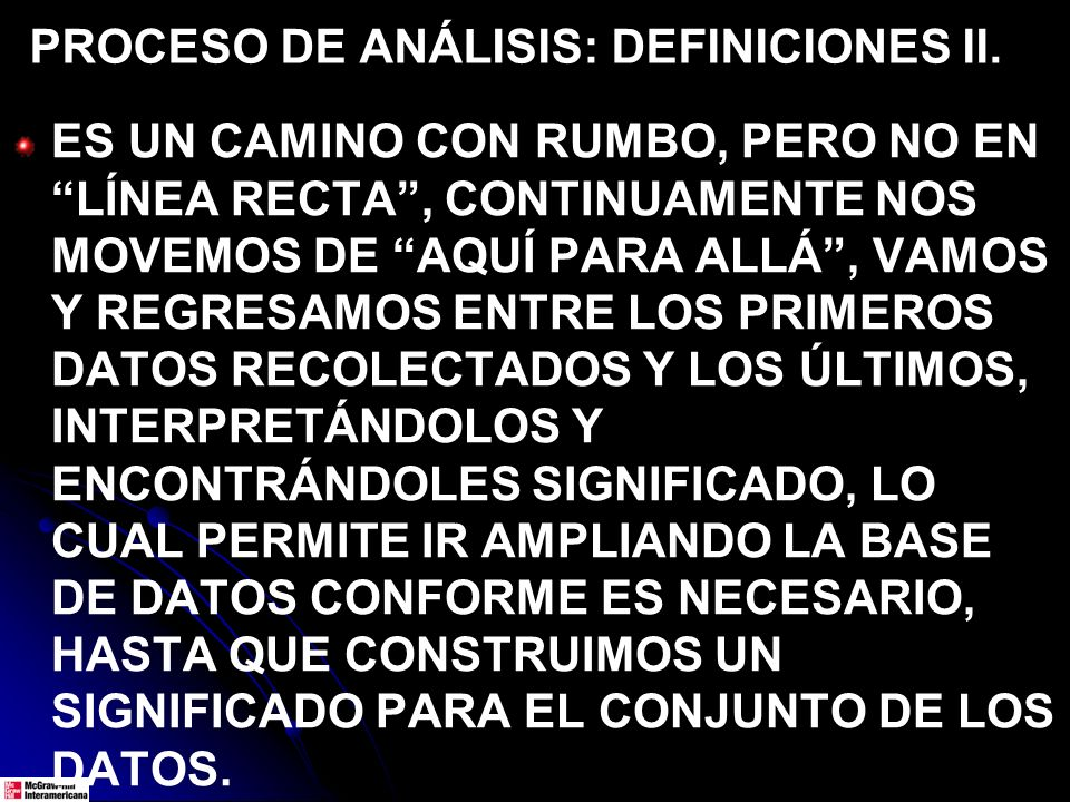 PROCESO DE ANÁLISIS: DEFINICIONES II.