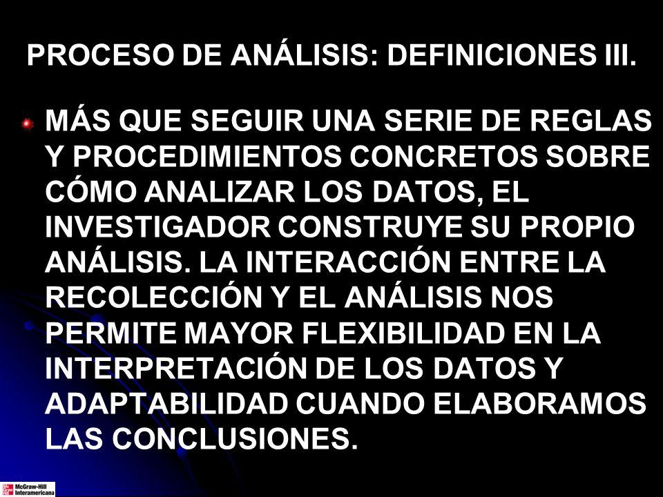 PROCESO DE ANÁLISIS: DEFINICIONES III. MÁS QUE SEGUIR UNA SERIE DE REGLAS Y PROCEDIMIENTOS CONCRETOS SOBRE CÓMO ANALIZAR LOS DATOS, EL INVESTIGADOR CO