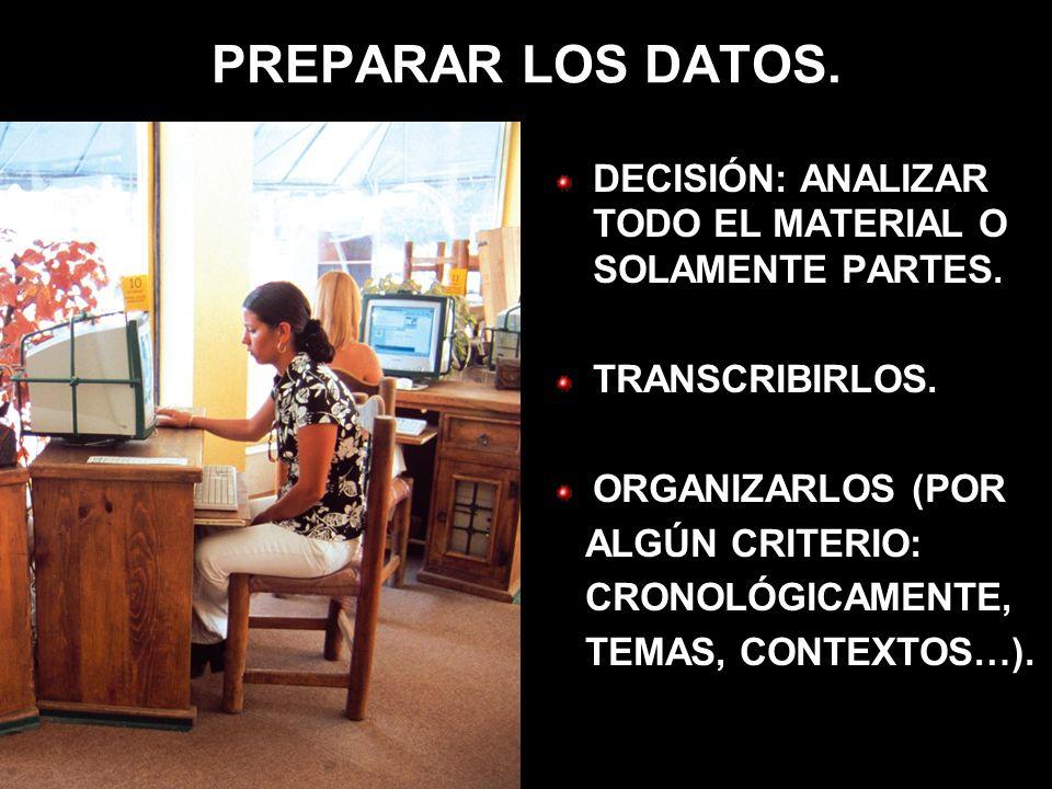 PREPARAR LOS DATOS. DECISIÓN: ANALIZAR TODO EL MATERIAL O SOLAMENTE PARTES. TRANSCRIBIRLOS. ORGANIZARLOS (POR ALGÚN CRITERIO: CRONOLÓGICAMENTE, TEMAS,