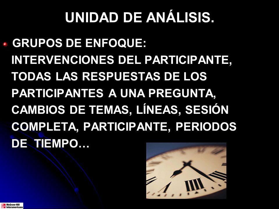 UNIDAD DE ANÁLISIS.
