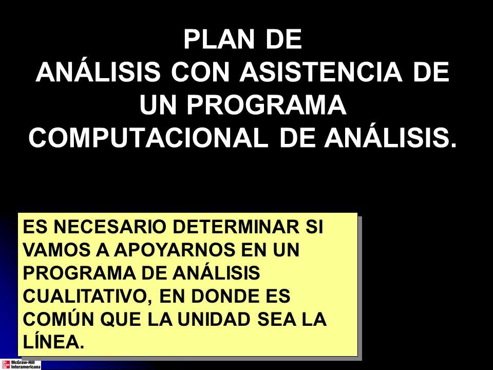 PLAN DE ANÁLISIS CON ASISTENCIA DE UN PROGRAMA COMPUTACIONAL DE ANÁLISIS.