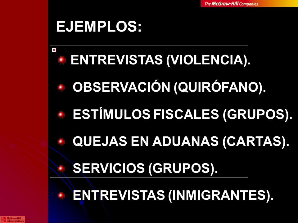 EJEMPLOS: ENTREVISTAS (VIOLENCIA). OBSERVACIÓN (QUIRÓFANO). ESTÍMULOS FISCALES (GRUPOS). QUEJAS EN ADUANAS (CARTAS). SERVICIOS (GRUPOS). ENTREVISTAS (