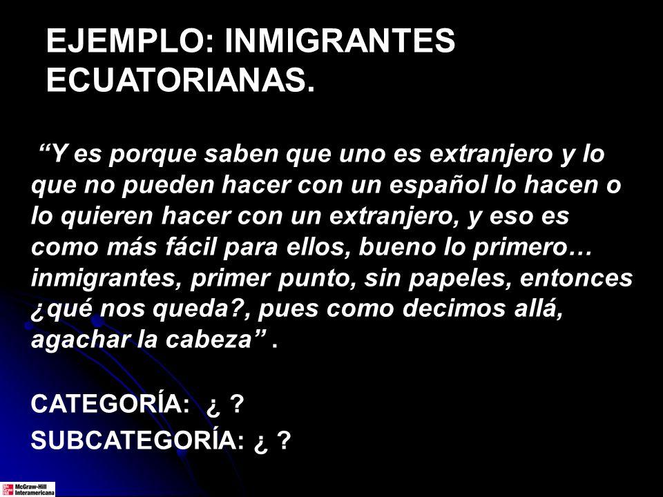 EJEMPLO: INMIGRANTES ECUATORIANAS. Y es porque saben que uno es extranjero y lo que no pueden hacer con un español lo hacen o lo quieren hacer con un