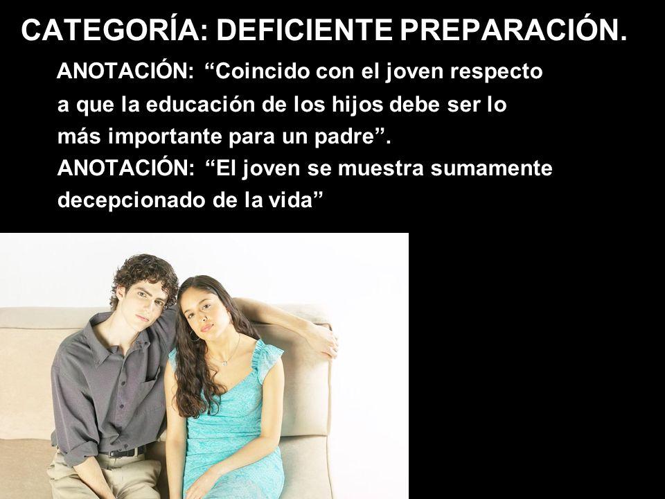 CATEGORÍA: DEFICIENTE PREPARACIÓN. ANOTACIÓN: Coincido con el joven respecto a que la educación de los hijos debe ser lo más importante para un padre.
