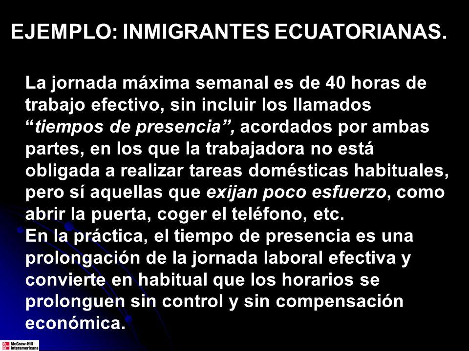EJEMPLO: INMIGRANTES ECUATORIANAS. La jornada máxima semanal es de 40 horas de trabajo efectivo, sin incluir los llamadostiempos de presencia, acordad