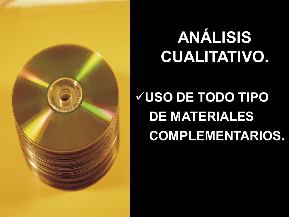 ANÁLISIS CUALITATIVO. USO DE TODO TIPO DE MATERIALES COMPLEMENTARIOS.