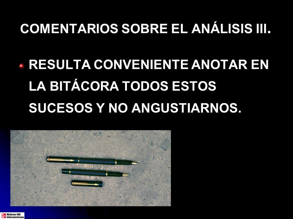 COMENTARIOS SOBRE EL ANÁLISIS III. RESULTA CONVENIENTE ANOTAR EN LA BITÁCORA TODOS ESTOS SUCESOS Y NO ANGUSTIARNOS.