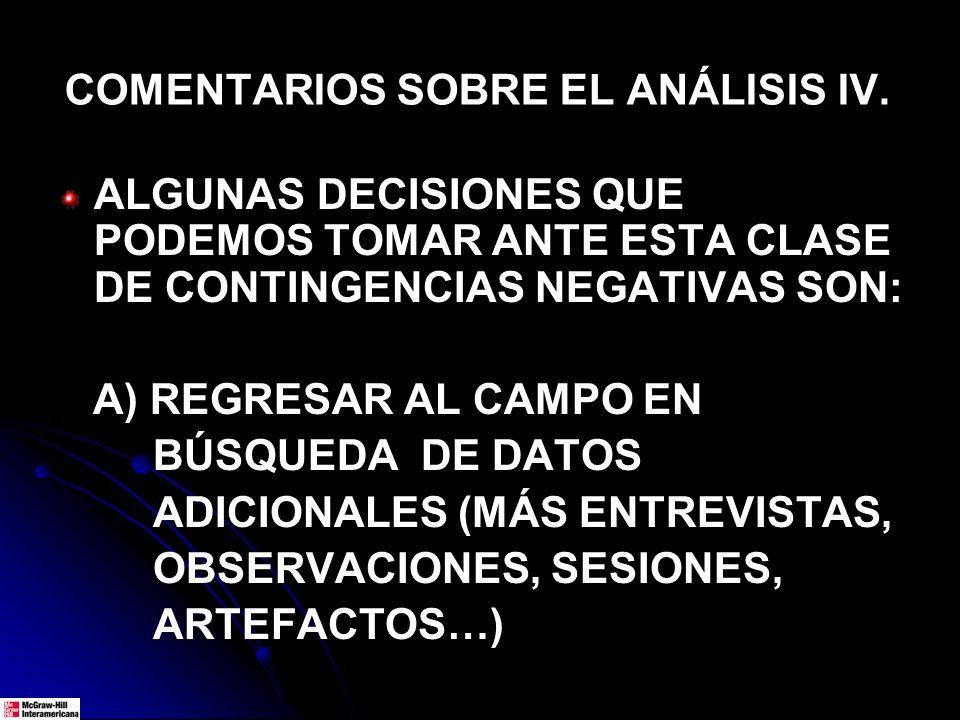 COMENTARIOS SOBRE EL ANÁLISIS IV. ALGUNAS DECISIONES QUE PODEMOS TOMAR ANTE ESTA CLASE DE CONTINGENCIAS NEGATIVAS SON: A) REGRESAR AL CAMPO EN BÚSQUED