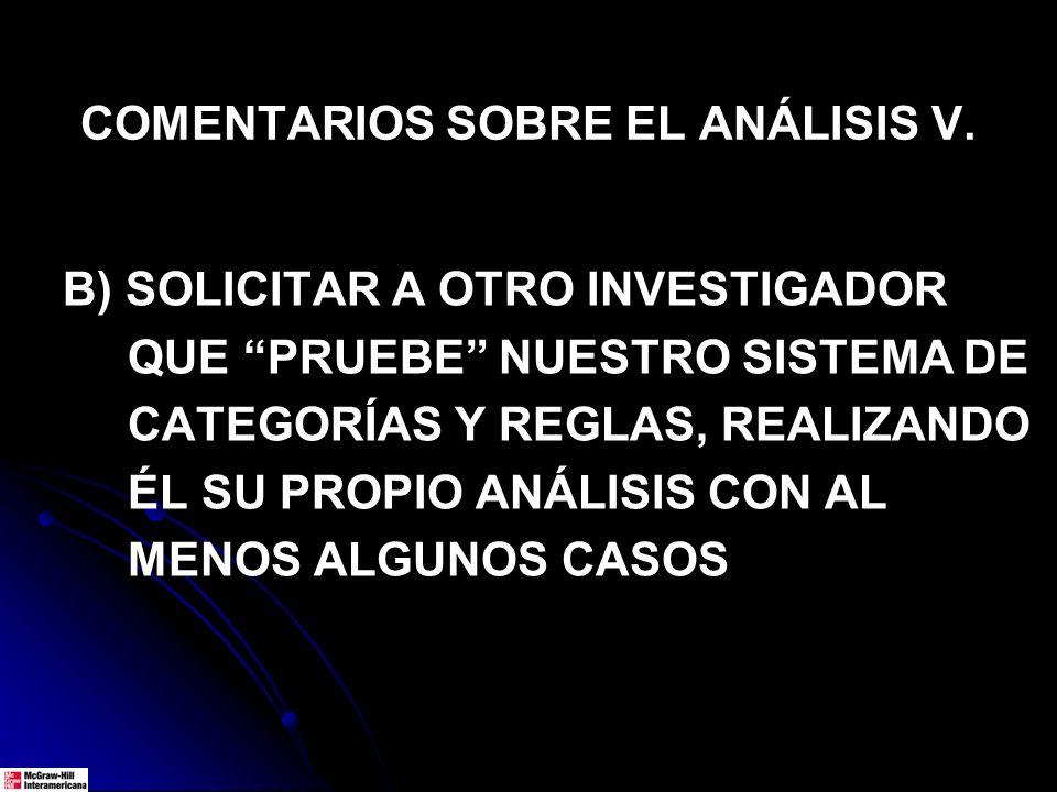 COMENTARIOS SOBRE EL ANÁLISIS V.