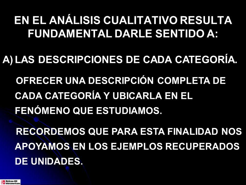 EN EL ANÁLISIS CUALITATIVO RESULTA FUNDAMENTAL DARLE SENTIDO A: A)LAS DESCRIPCIONES DE CADA CATEGORÍA. OFRECER UNA DESCRIPCIÓN COMPLETA DE CADA CATEGO