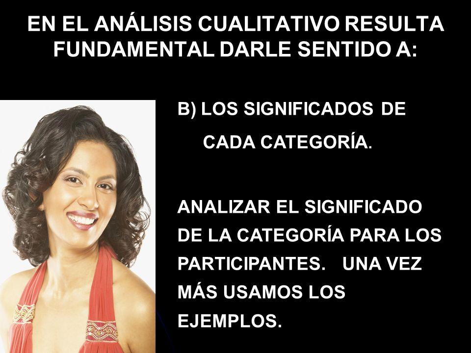 EN EL ANÁLISIS CUALITATIVO RESULTA FUNDAMENTAL DARLE SENTIDO A: B) LOS SIGNIFICADOS DE CADA CATEGORÍA. ANALIZAR EL SIGNIFICADO DE LA CATEGORÍA PARA LO