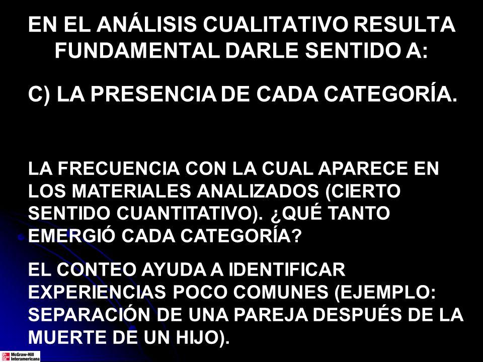 EN EL ANÁLISIS CUALITATIVO RESULTA FUNDAMENTAL DARLE SENTIDO A: C) LA PRESENCIA DE CADA CATEGORÍA. LA FRECUENCIA CON LA CUAL APARECE EN LOS MATERIALES