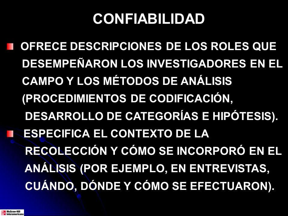 CONFIABILIDAD OFRECE DESCRIPCIONES DE LOS ROLES QUE DESEMPEÑARON LOS INVESTIGADORES EN EL CAMPO Y LOS MÉTODOS DE ANÁLISIS (PROCEDIMIENTOS DE CODIFICACIÓN, DESARROLLO DE CATEGORÍAS E HIPÓTESIS).