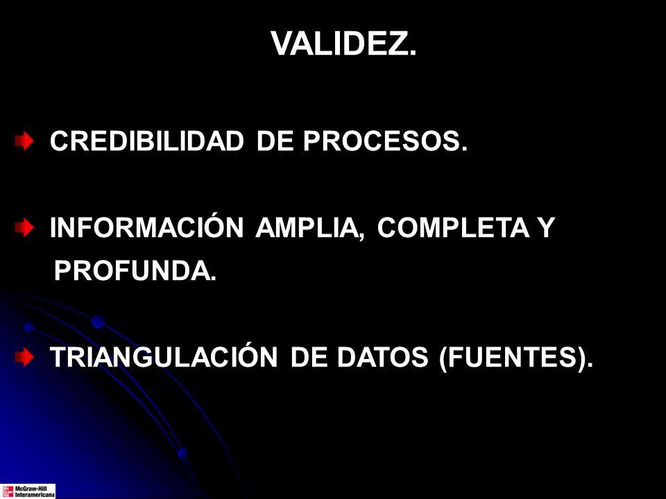 VALIDEZ. CREDIBILIDAD DE PROCESOS. INFORMACIÓN AMPLIA, COMPLETA Y PROFUNDA. TRIANGULACIÓN DE DATOS (FUENTES).