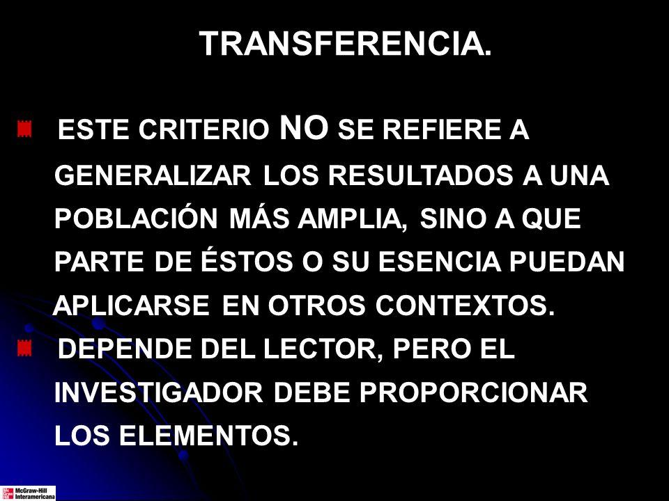 TRANSFERENCIA. ESTE CRITERIO NO SE REFIERE A GENERALIZAR LOS RESULTADOS A UNA POBLACIÓN MÁS AMPLIA, SINO A QUE PARTE DE ÉSTOS O SU ESENCIA PUEDAN APLI