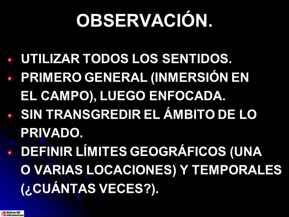 OBSERVACIÓN.UTILIZAR TODOS LOS SENTIDOS. PRIMERO GENERAL (INMERSIÓN EN EL CAMPO), LUEGO ENFOCADA.