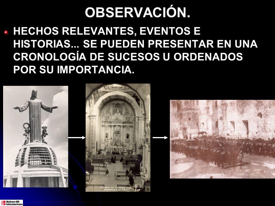 OBSERVACIÓN. HECHOS RELEVANTES, EVENTOS E HISTORIAS... SE PUEDEN PRESENTAR EN UNA CRONOLOGÍA DE SUCESOS U ORDENADOS POR SU IMPORTANCIA.