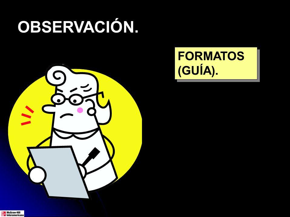 OBSERVACIÓN. FORMATOS (GUÍA).