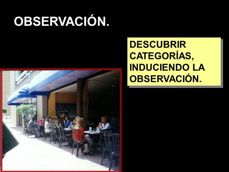 OBSERVACIÓN. DESCUBRIR CATEGORÍAS, INDUCIENDO LA OBSERVACIÓN.