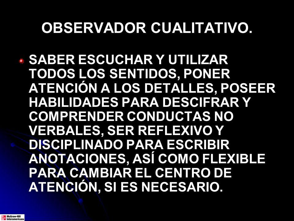 OBSERVADOR CUALITATIVO. SABER ESCUCHAR Y UTILIZAR TODOS LOS SENTIDOS, PONER ATENCIÓN A LOS DETALLES, POSEER HABILIDADES PARA DESCIFRAR Y COMPRENDER CO
