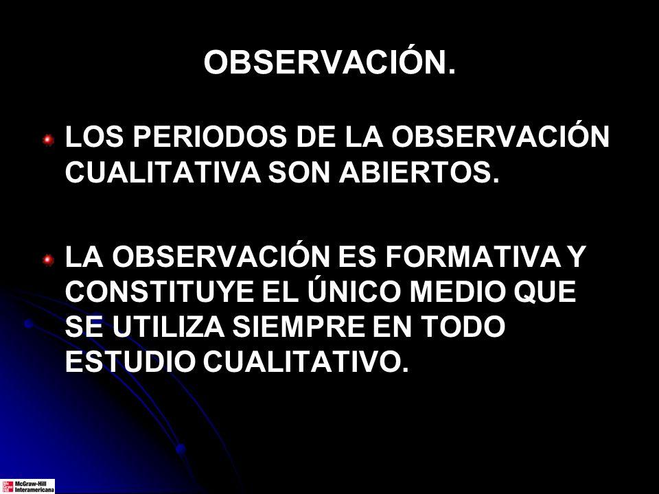 OBSERVACIÓN.LOS PERIODOS DE LA OBSERVACIÓN CUALITATIVA SON ABIERTOS.