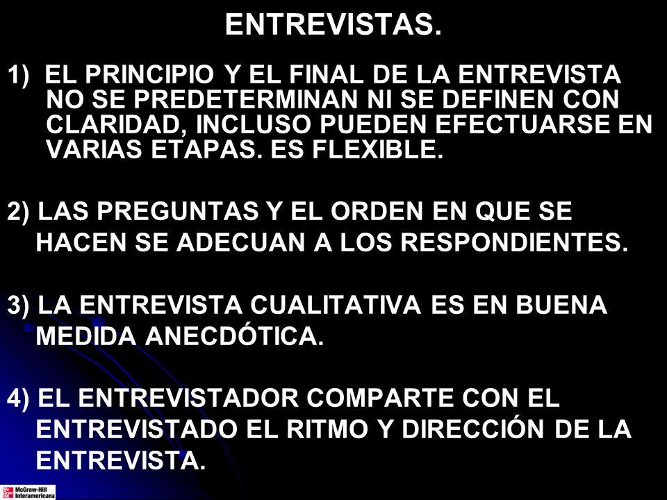 ENTREVISTAS. 1) EL PRINCIPIO Y EL FINAL DE LA ENTREVISTA NO SE PREDETERMINAN NI SE DEFINEN CON CLARIDAD, INCLUSO PUEDEN EFECTUARSE EN VARIAS ETAPAS. E