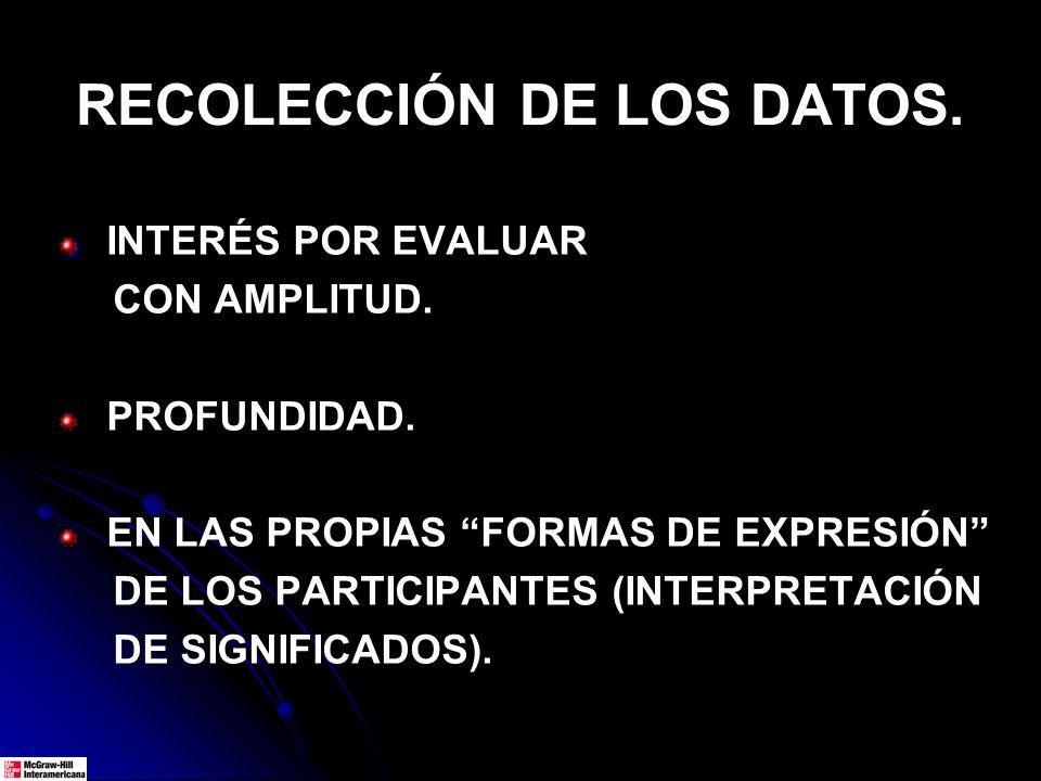 RECOLECCIÓN DE LOS DATOS. INTERÉS POR EVALUAR CON AMPLITUD. PROFUNDIDAD. EN LAS PROPIAS FORMAS DE EXPRESIÓN DE LOS PARTICIPANTES (INTERPRETACIÓN DE SI
