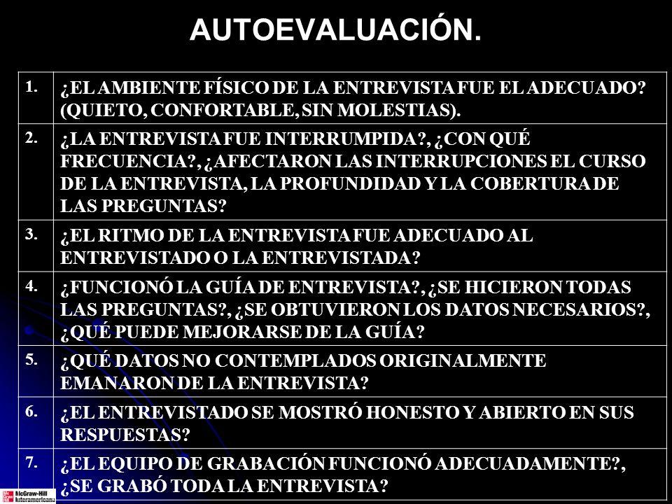 AUTOEVALUACIÓN.1. ¿EL AMBIENTE FÍSICO DE LA ENTREVISTA FUE EL ADECUADO.