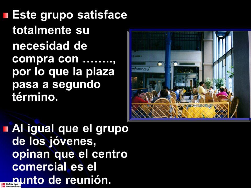 Este grupo satisface totalmente su necesidad de compra con …….., por lo que la plaza pasa a segundo término.