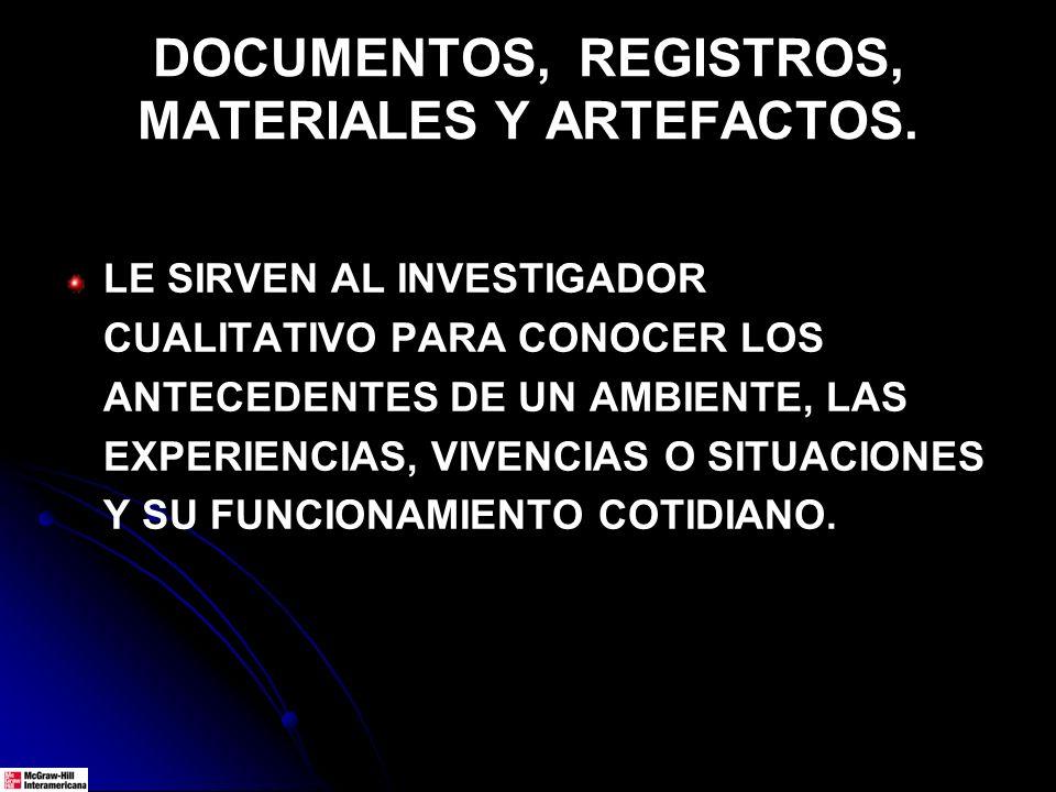 DOCUMENTOS, REGISTROS, MATERIALES Y ARTEFACTOS.
