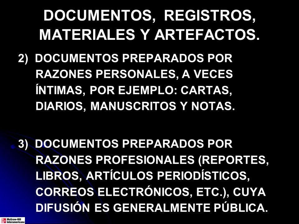 DOCUMENTOS, REGISTROS, MATERIALES Y ARTEFACTOS. 2) DOCUMENTOS PREPARADOS POR RAZONES PERSONALES, A VECES ÍNTIMAS, POR EJEMPLO: CARTAS, DIARIOS, MANUSC
