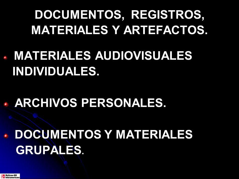 DOCUMENTOS, REGISTROS, MATERIALES Y ARTEFACTOS. MATERIALES AUDIOVISUALES INDIVIDUALES. ARCHIVOS PERSONALES. DOCUMENTOS Y MATERIALES GRUPALES.