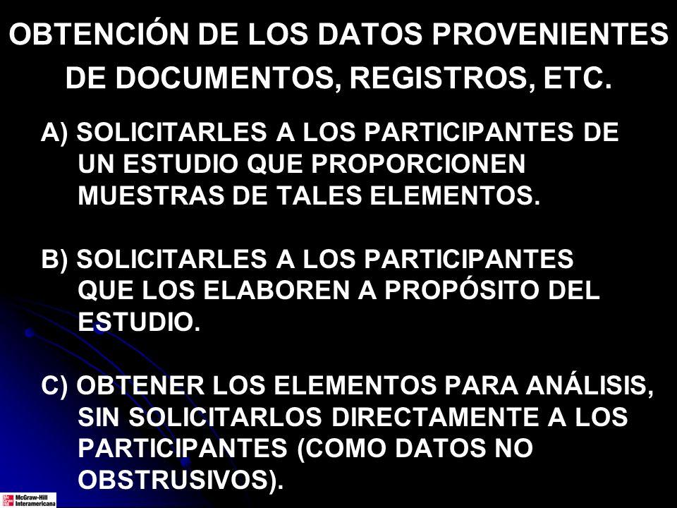 OBTENCIÓN DE LOS DATOS PROVENIENTES DE DOCUMENTOS, REGISTROS, ETC. A) SOLICITARLES A LOS PARTICIPANTES DE UN ESTUDIO QUE PROPORCIONEN MUESTRAS DE TALE