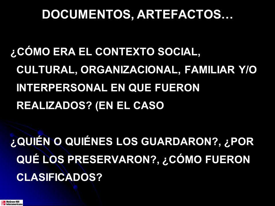 DOCUMENTOS, ARTEFACTOS… ¿CÓMO ERA EL CONTEXTO SOCIAL, CULTURAL, ORGANIZACIONAL, FAMILIAR Y/O INTERPERSONAL EN QUE FUERON REALIZADOS.