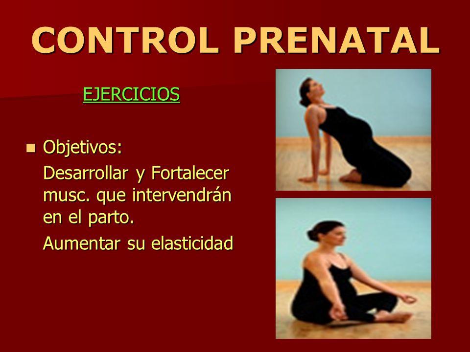 CONTROL PRENATAL EJERCICIOS Objetivos: Objetivos: Desarrollar y Fortalecer musc. que intervendrán en el parto. Aumentar su elasticidad