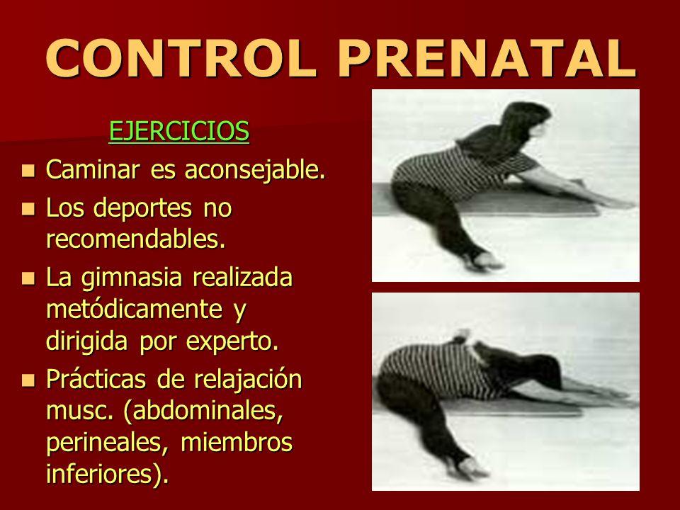 CONTROL PRENATAL EJERCICIOS Caminar es aconsejable. Caminar es aconsejable. Los deportes no recomendables. Los deportes no recomendables. La gimnasia