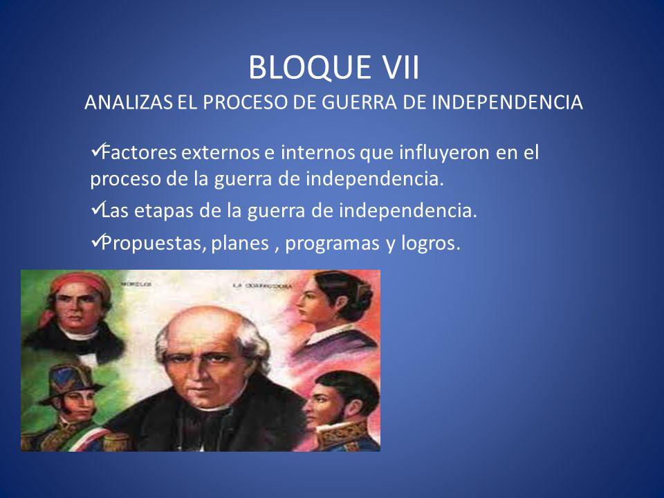 BLOQUE VII ANALIZAS EL PROCESO DE GUERRA DE INDEPENDENCIA Factores externos e internos que influyeron en el proceso de la guerra de independencia. Las