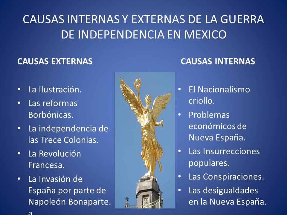 CAUSAS INTERNAS Y EXTERNAS DE LA GUERRA DE INDEPENDENCIA EN MEXICO CAUSAS EXTERNAS La Ilustración. Las reformas Borbónicas. La independencia de las Tr