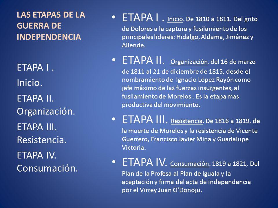 LAS ETAPAS DE LA GUERRA DE INDEPENDENCIA ETAPA I. Inicio. De 1810 a 1811. Del grito de Dolores a la captura y fusilamiento de los principales lideres: