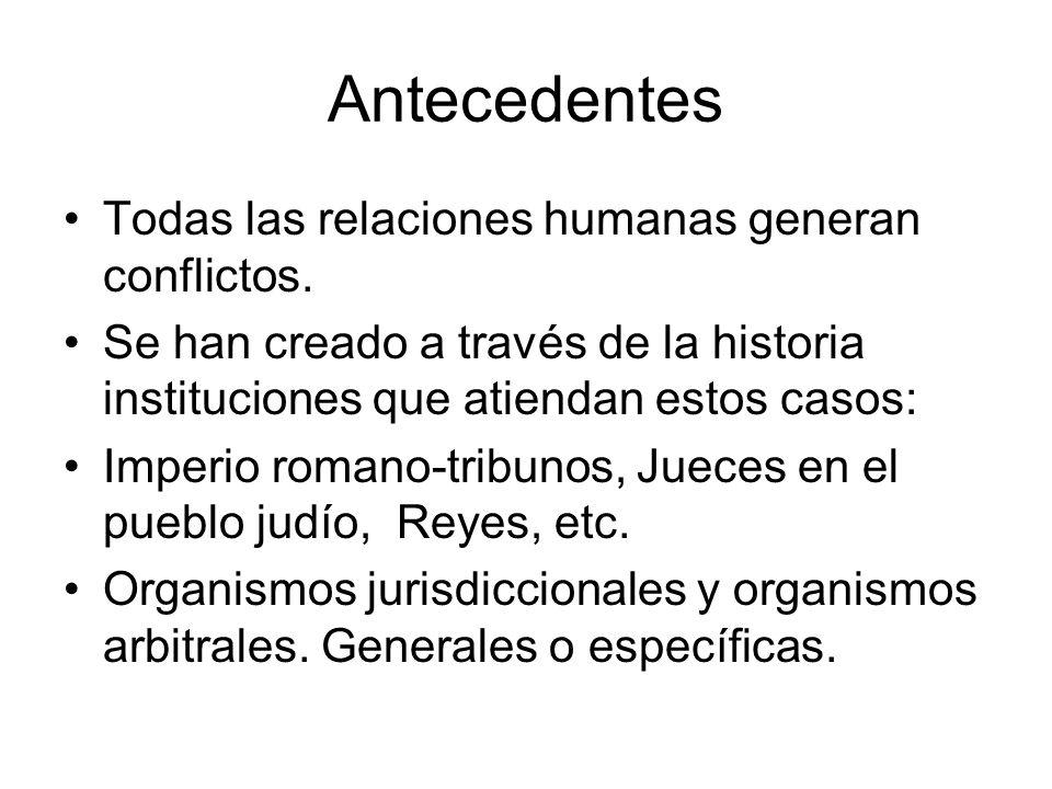 Antecedentes Todas las relaciones humanas generan conflictos. Se han creado a través de la historia instituciones que atiendan estos casos: Imperio ro